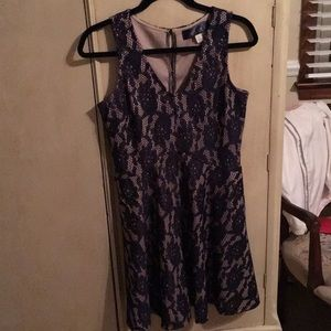 Navy and Nude Lace Dress